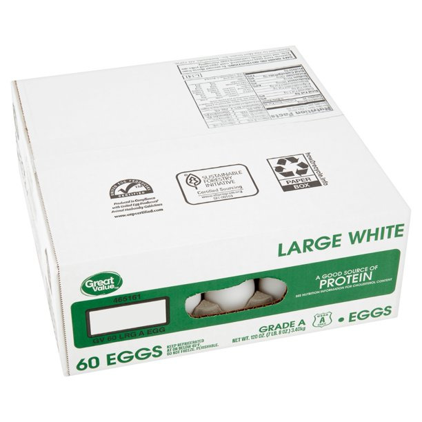 Great Value Large White Eggs 60 Count 120 Oz Walmart Com