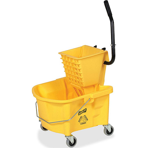 Genuine Joe Splash Guard Mop Bucket Wringer Combo, Yellow
