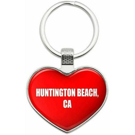 Huntington Beach CA - City State Metal Heart Keychain Key Chain Ring, - Party City Huntington Beach Ca