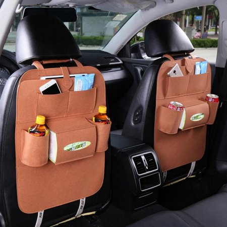 2pcs Camel Multi Pocket Car Seat Back Organizer Tactical Vehicle Panel Car Seat Cover Storager With Tissue Holder Waterproof Wool Felt - image 1 de 6