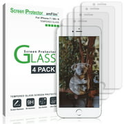 amFilm (4 Pack) Screen Protector for iPhone 7, iPhone 6S, and iPhone 6 - Tempered Glass Screen Protector Film