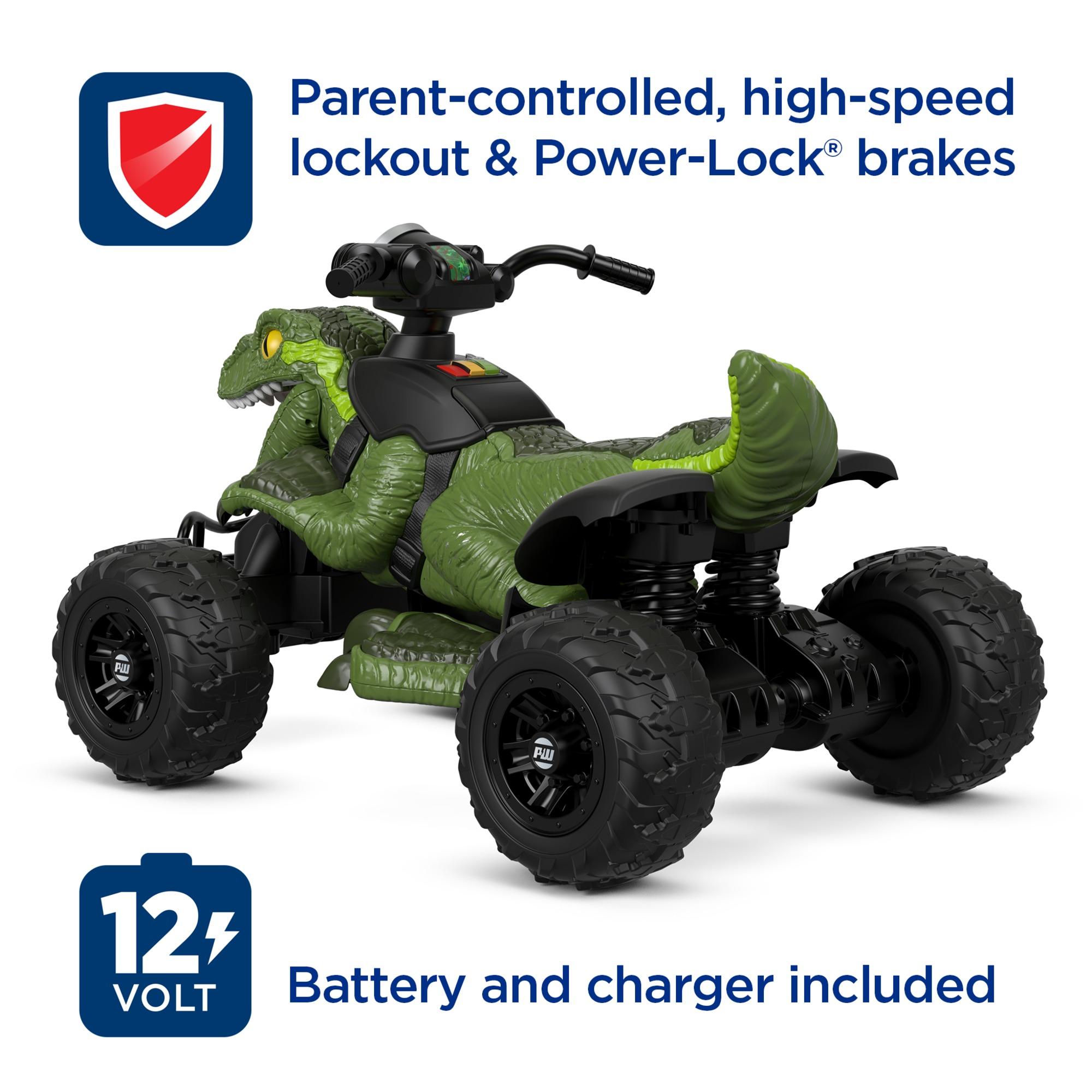Power Wheels Jurassic World Dino Racer Green Ride On Atv For Kids Walmart Com Walmart Com