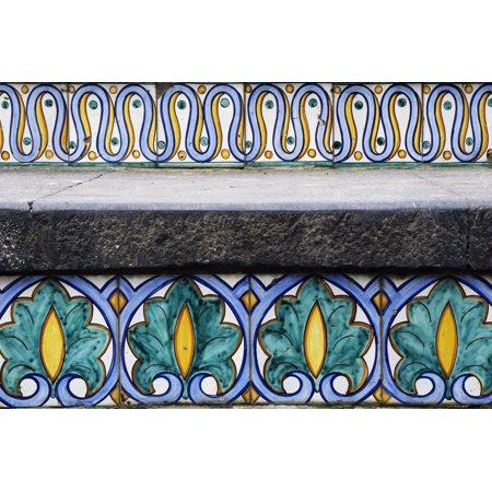 Hand-Painted Majolica Tiles with Arab-Norman Period Friezes Print Wall Art
