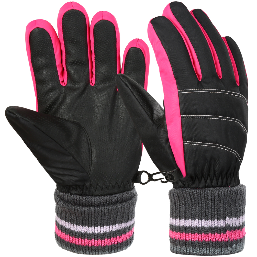 Vbiger Kids Winter Warm Gloves Waterproof Snow Ski Gloves Kids Sports Gloves for Sledding Cycling Snowboarding and More, Orange, M