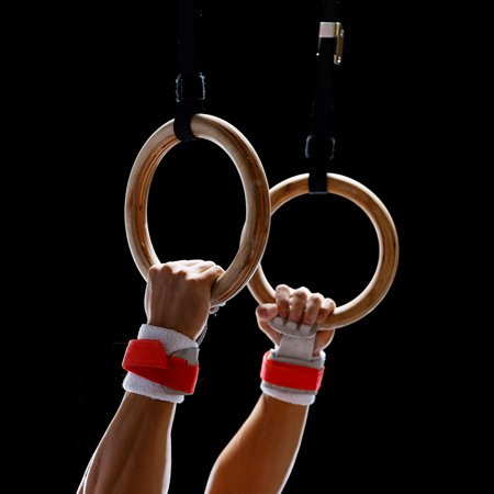 Jaxpety Wooden Gymnastics Rings Adjustable Straps Fully Body Training Workout Equipment
