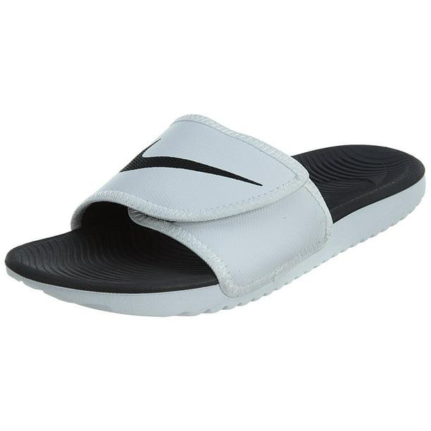 Nike Mens Kawa Adjustable Slide Sandals, White/Black-White, 11