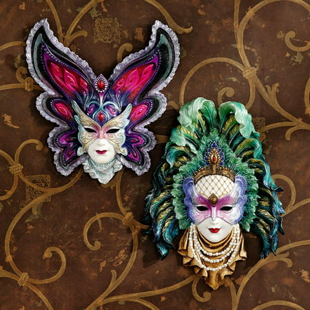 Maidens of Mardi Gras Wall Mask Sculptures: Butterfly Maiden & Peacock Princess (Mardi Gras Peacock Mask)