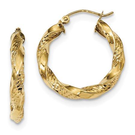 14k Yellow Gold Twist Hoop Earrings Ear Hoops Set Fine Jewelry Gifts For Women For Her - image 6 de 6