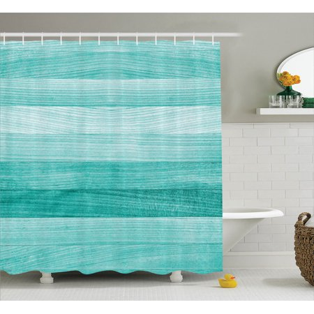 Teal Decor Shower Curtain Set Painted Wood Texture Penal