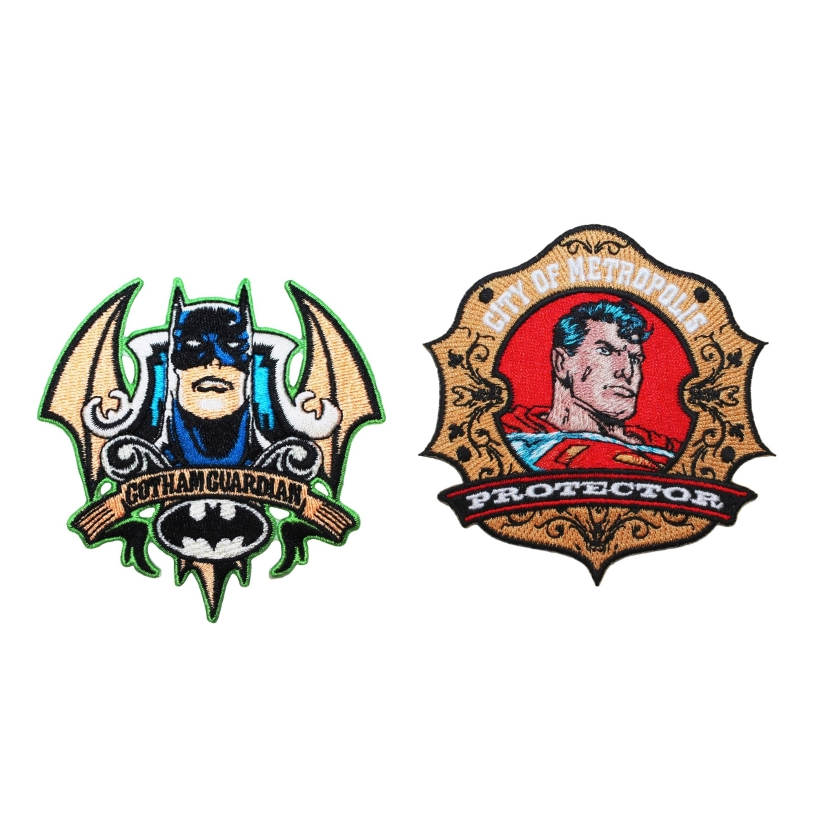 Batman Vs Superman 2-Pack Patch Combo Dark Knight & Man of Steel Badge Iron-Ons