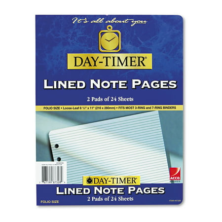 Day-Timer Lined Pages, 8 1/2 x 11 8 1/2'x11 3/4' Legal Rule