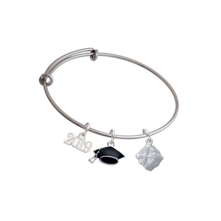Silvertone 3-D Present Box with Bow and Crystal - 2019 Graduation Charm Bangle Bracelet
