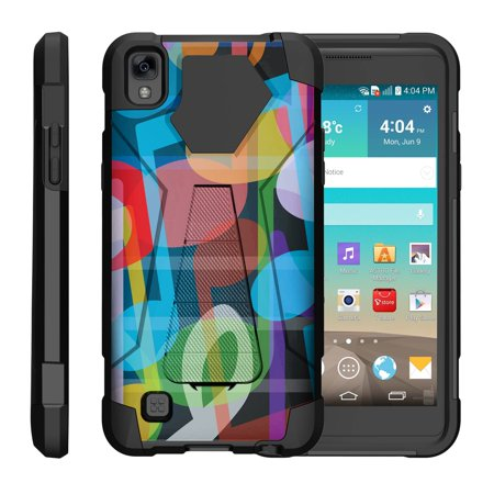 TurtleArmor ® | For LG K6P | LG X Power [Dynamic Shell] Dual Layer Hybrid Silicone Hard Shell Kickstand Case - Colorful Music ()