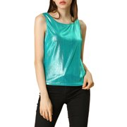 Allegra K Women's Sleeveless U Neck Fashion Shiny Tank Top Gold (Size XL / 16)