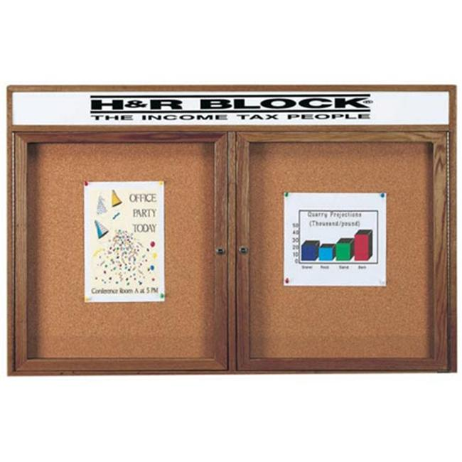 Aarco Products Enclosed Bulletin Board with Headers Frame