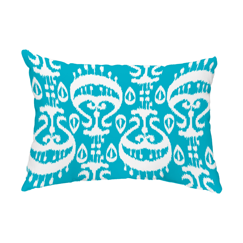 Ikat 14x20 Inch Turquoise Decorative Ikat Outdoor Throw Pillow
