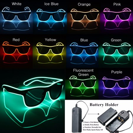 Light up LED Sun Glasses Wire Fashion Neon Luminous Club Party led Frame Eyewear Sunglasses 13 Sunglasses Gold Frame