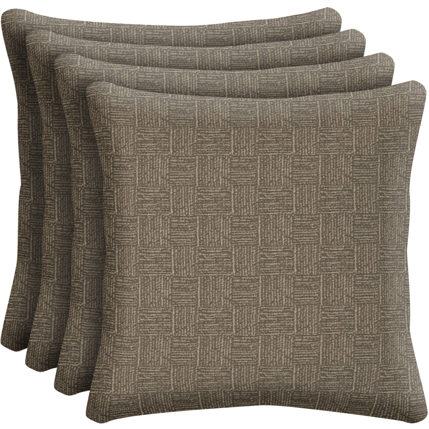"Arden Outdoors Brown Woven 16"" Square Toss Pillow, Set of 4"