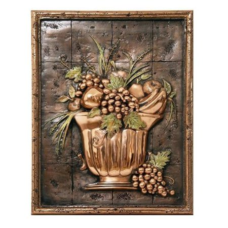 Design Tuscany DT-17-2006C Mediterranean Fruit Bowl Backsplash Mural Tile, Copper