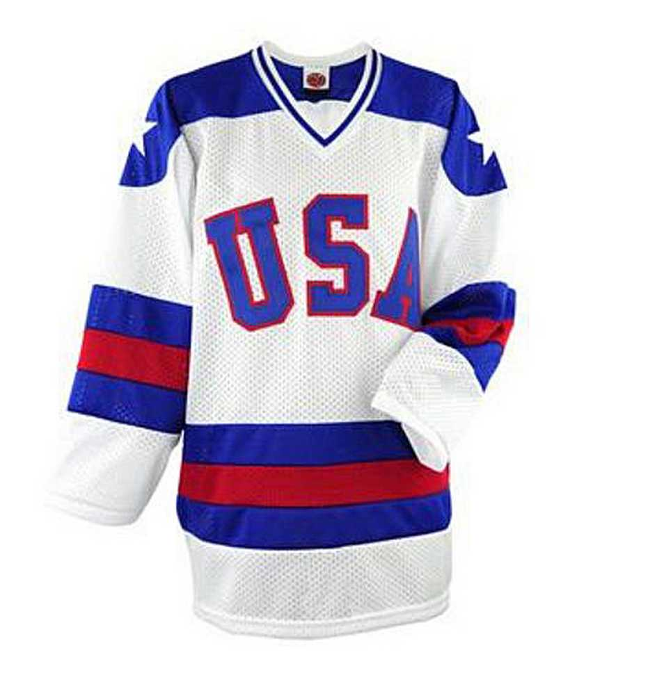 "USA Hockey ""Miracle On Ice"" Adult Ice Hockey Jersey Away Blue, Home White"