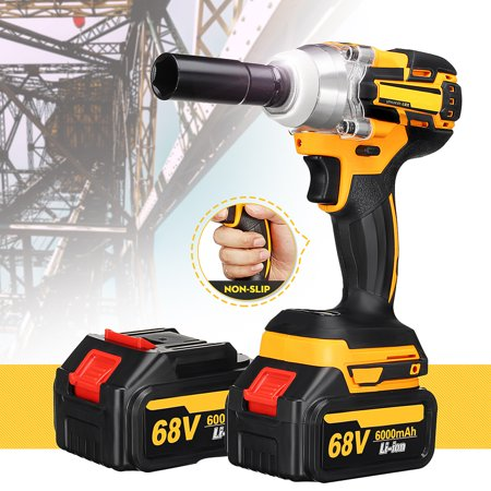 68V 6000mAh Cordless Li-Ion Electric Impact Wrench Brushless Motor + 2 Battery