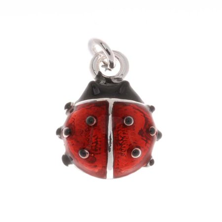 Silver Plated Red And Black Enamel Lady Bug Charm 14mm (1) ()