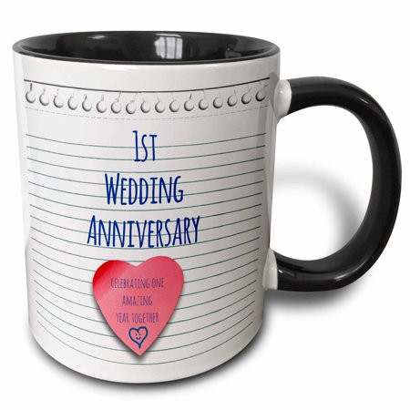 3dRose 1st Wedding Anniversary gift - Paper celebrating 1 year together - first anniversaries - one yr, Two Tone Black Mug,