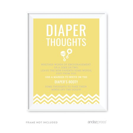 Diaper Thoughts Yellow Chevron Baby Shower Fun Activities, Party Sign - Gender Neutral Baby Shower Decorations