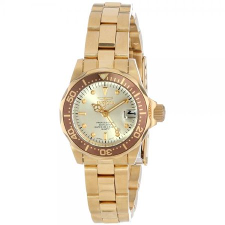 Invicta Women's Pro Diver 18K Gold Plated SS Champagne Dial