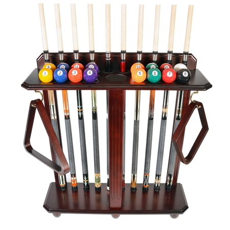 Cue Rack Only- 10 Pool - Billiard Stick And Ball Set Floor - Stand Mahogany Finish