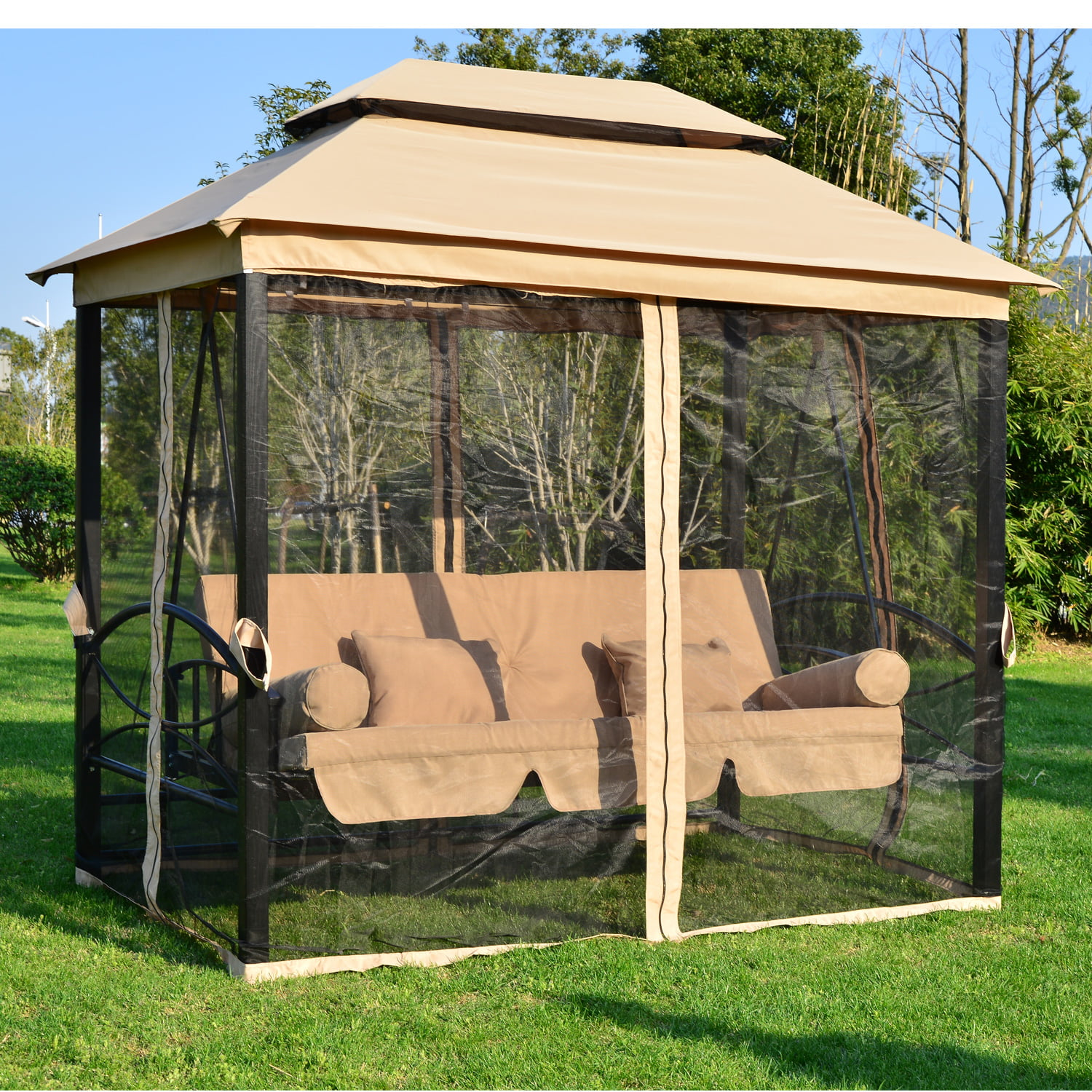outsunny outdoor 3 person patio daybed canopy gazebo swing tan w mesh walls walmartcom
