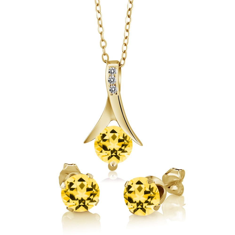 925 Yellow Gold Plated Silver Diamond Jewelry Set with Topaz from Swarvoski by