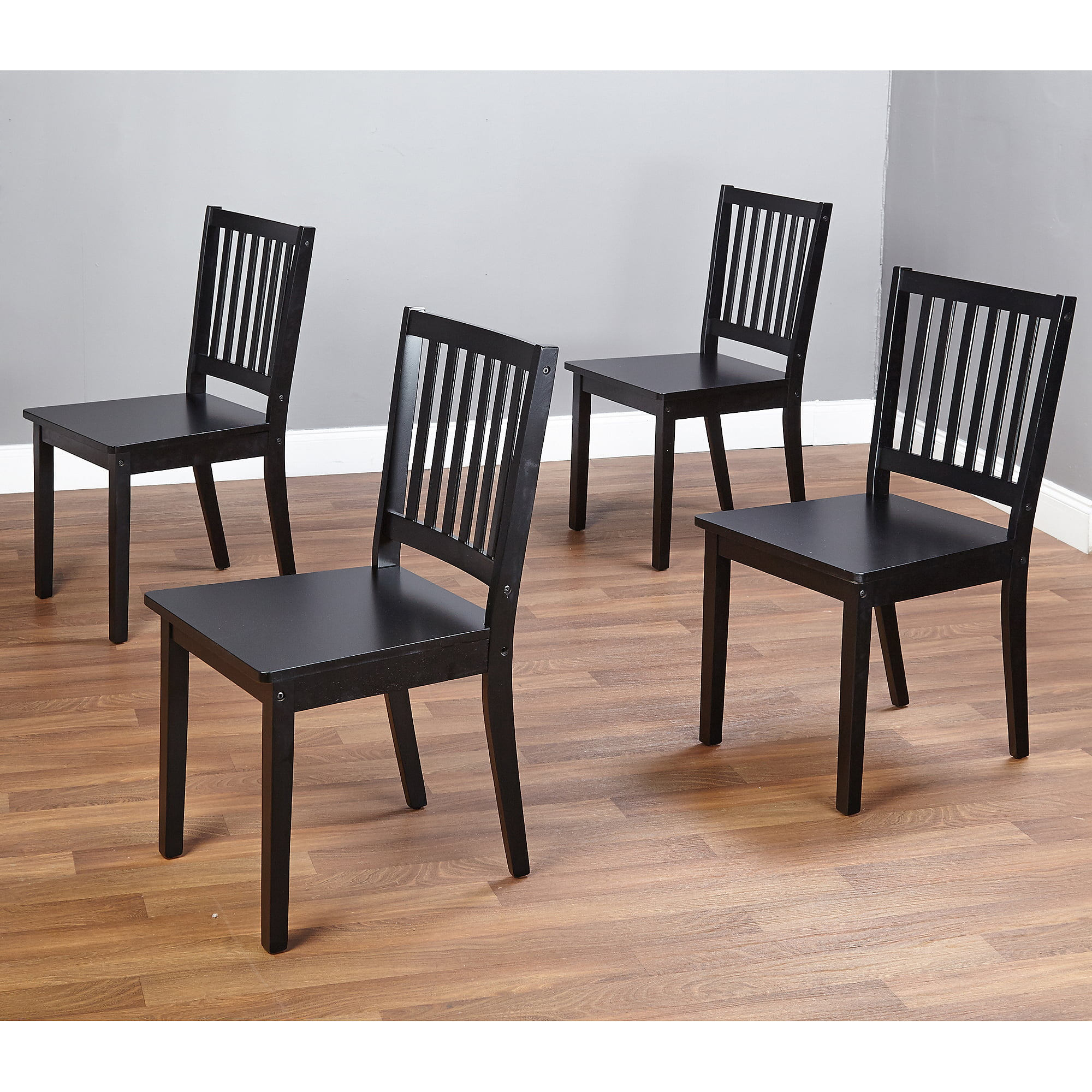 Dining Wood Chair Set of 4 Black Kitchen Dinette Room Solid Seat ...
