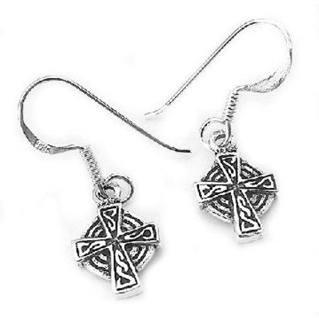 Sterling Silver Celtic Knot Sun Cross Dangle Earrings