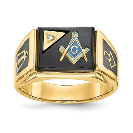 14k Yellow Gold Diamond Masonic Ring (0.01,ct) Size 10