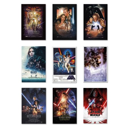 - Star Wars: Episode I, II, III, IV, V, VI, VII, VIII & Rogue One - 9 Piece Movie Poster Set (Regular Styles 2) (Size: 27