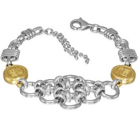 Stainless Steel Two-Tone Interlocking Circles Chinese Letters Bracelet