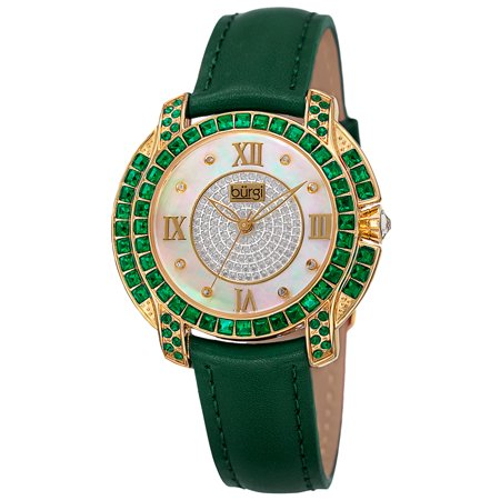 Women's Quartz Square-Cut Swarovski Crystals Leather Green Strap Watch At Cut Quartz Crystal