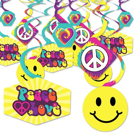 60's Hippie - 1960s Groovy Party Hanging Decor - Party Decoration Swirls - Set of 40](1960s Decorations)