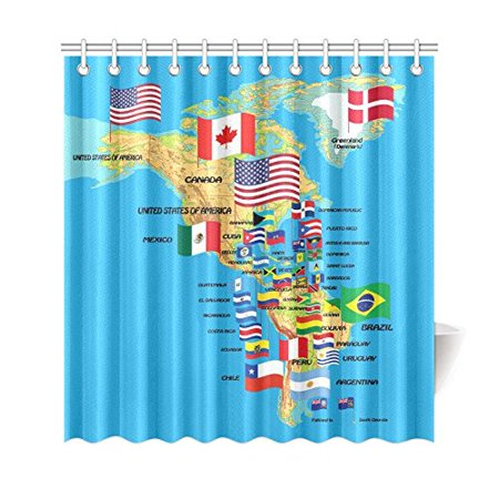 GCKG Home Decor North and South America Map with flags and Countries Name Polyester Fabric Shower Curtain Bathroom Sets with Hooks 66x72 Inches - image 3 de 3