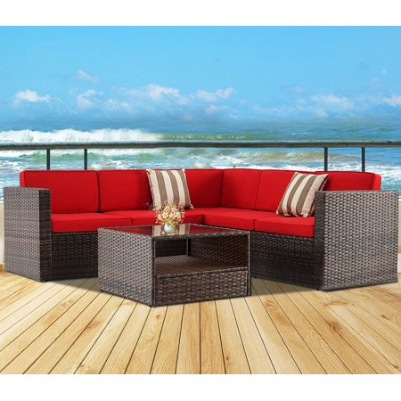 SUNCROWN Outdoor Patio Furniture Sectional Wicker Sectional Sofa Set with Red Cushions and Glass Coffee Table,Brown