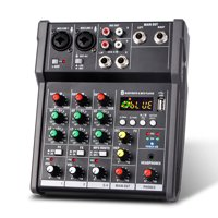 GoolRC 4-Channel Portable USB Mixing Console Digital Audio Mixer Supports BT Connection for Studio Recording Network Live Broadcast DJ Karaoke