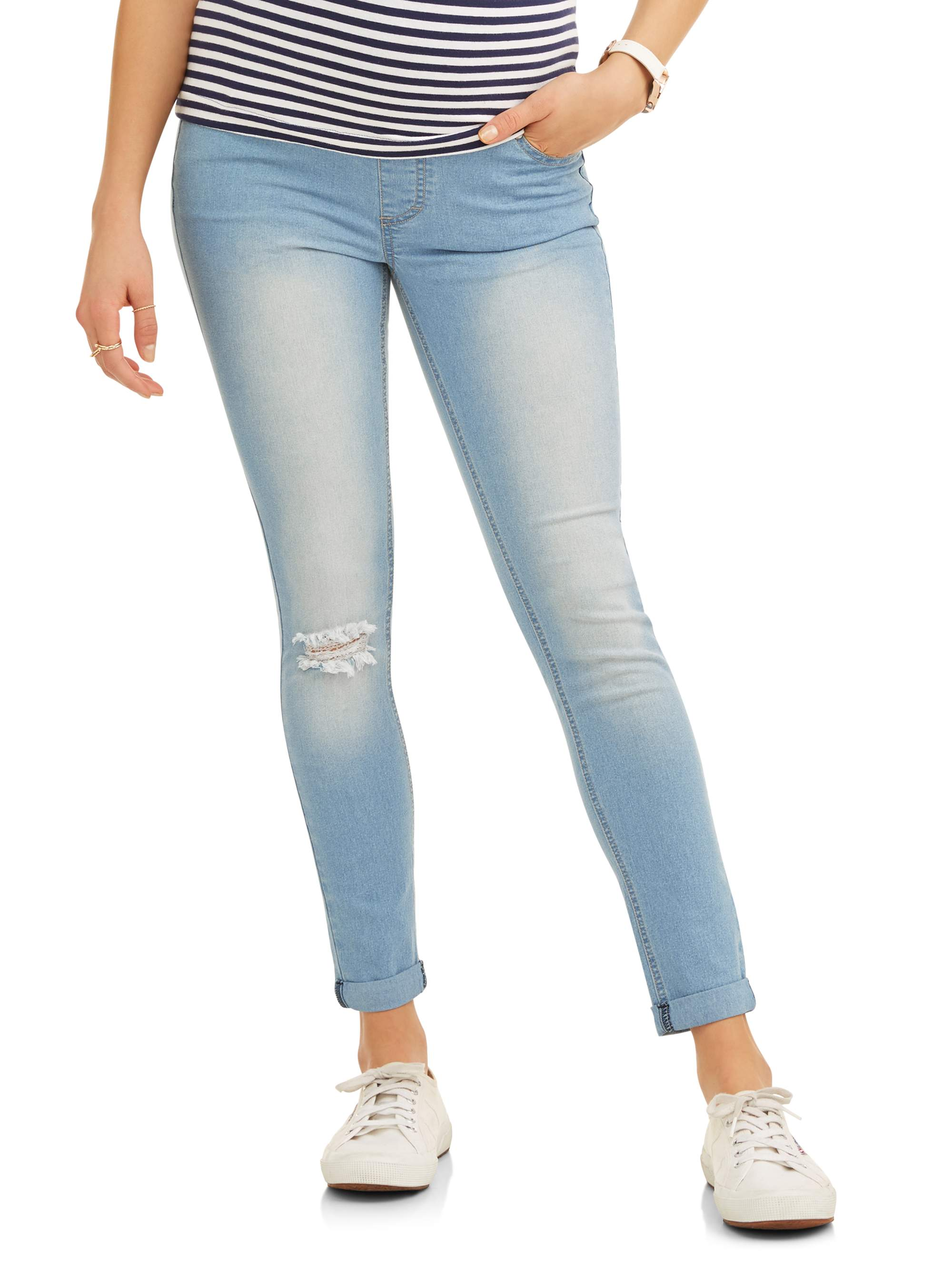 Maternity Full Panel Super Soft Destructed Skinny Boyfriend Crop Jeans -- Available in Plus Size by Generic