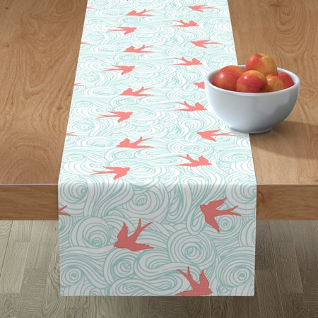 Image of Table Runner Baby Birds Pink And Blue Nursery Clouds Ocean Coral Cotton Sateen