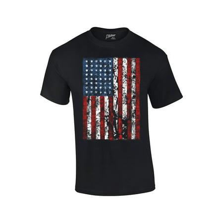 American Flag Mens T-shirt United States USA Tattered Flag - Walmart ...