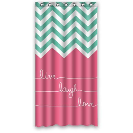 GreenDecor Hipster Quotes Live Love Laugh In Teal And Pink Chevron Zigzag Waterproof Shower Curtain Set with Hooks Bathroom Accessories Size 36x72 inches ()