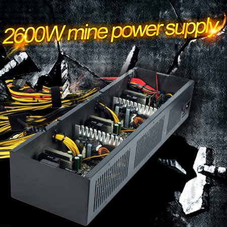 Black 2600W Modular Power Supply For 12 Video Cards Us Plug Gpu Ethereum Coin Mining Miner Machine 3 Cooling Fans Heat Dissipation Hot Sale