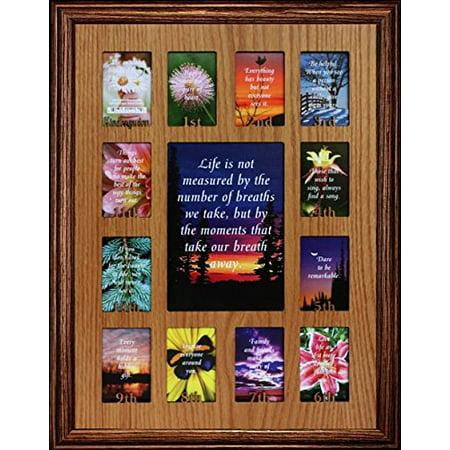12X16 K-12th Grade School Days/Years Photo Collage Mat & Frame ~ Picture Frame With Oak Veneer Insert ~ Wonderful Keepsake Gift Idea! (Walnut) ()