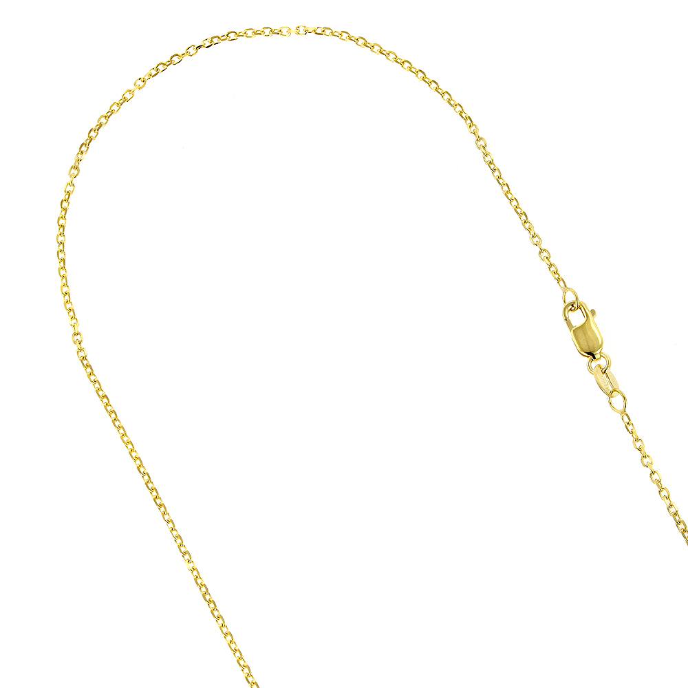 IcedTime Real 18K Yellow Gold 0.6 mm Wide Classic Box Chain 20 Inch Long