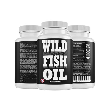 Wild Fish Oil Caps, Omega-3 DHA, EPA, DPA Supplement, Sustainably Harvested, FOS Certified, 60 ct